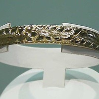 14K 12MM CUSTOM MADE HAWAIIAN MAILE LEAF CUFF BANGLE