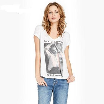 European Style Summer Casual Women T Shirt David Bowie Print Graphic Top Tees White V Neck Cotton Short Sleeve T Shirts