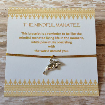 The Mindful Manatee Bracelet, Mindfulness Jewelry, Charm Bracelet