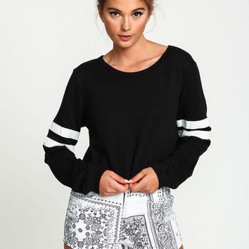 VARSITY STRIPES CROPPED SWEATER