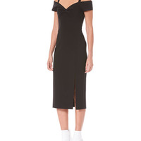 Carolina Herrera Off-the-Shoulder Wool Cocktail Dress