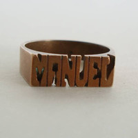 Manuel Name Ring Solid Copper Size 8.75 Jewelry