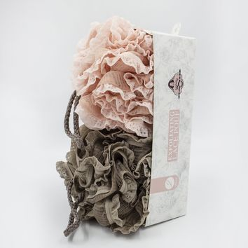 Luxury 2-Piece Lace Trimmed Bath Pouf Set, Taupe & Pink, by MinxNY