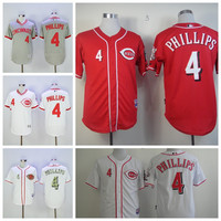 Throwback 4 Brandon Phillips Jersey 2016 Flexbase Baseball Cincinnati Reds Jerseys Cool Base Pullover White Red Grey Camo