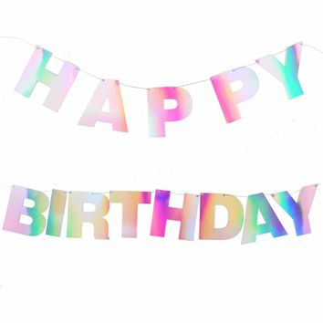 Unicorn Rainbow Happy Birthday Banner Bunting Banner Ray Iridescent Holografic Hologramm Shimmer Shine Party Decorations
