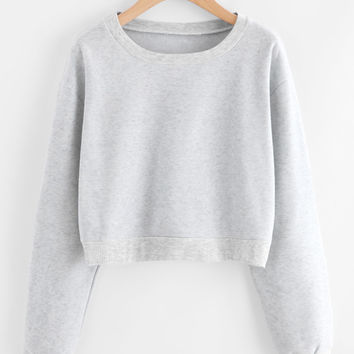 Drop Shoulder Ribbed Trim Crop Pullover