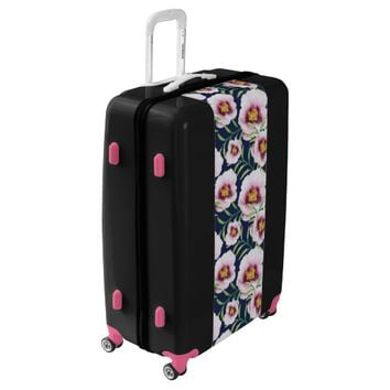 Sweet pink blue poppy vintage floral pattern luggage