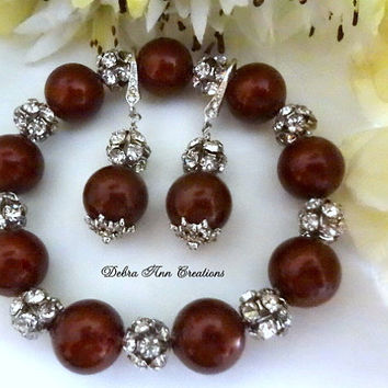 Swarovski Red Bordeaux Marsala Pearl Antique Silver Crystal Bracelet Earring Set Red Wedding Bridal Bridesmaid Jewelry Mother of Bride Groom