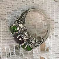 Art Deco Style Ring, Amethyst, Peridot, Sterling Silver, Vintage Jewelry SALE