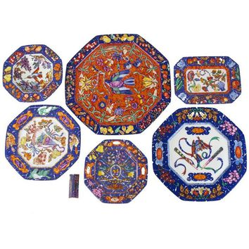 "Extensive 61-Piece Hermès ""Marqueterie"" Porcelain Dinner Service for Eight"