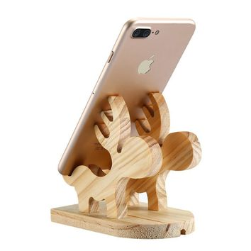 FLOVEME Lovely Moose Wood Holder 100% Natural Wooden Cute Phone Tablet Desk Stand Holder Charging Dock For iPhone iPad Samsung