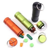 Personal protection Waterproof Outdoor Emergency Medicine Aluminum Alloy Sealed Can Bottles Keychain EDC Survival Equipment FC
