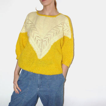 Yellow Knit Sweater 80s loose batwing handmade knitted Chunky Sweater Warm fall Spring sweater