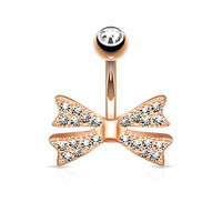 Bow Tie Belly Ring Belly Button Ring 316L Surgical Steel 14g Gold/Rhodium Plated (Rose Gold Plated)