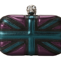 Alexander McQueen Britania Skull Box Clutch Black/Deep Purple/Evergreen - Zappos.com Free Shipping BOTH Ways