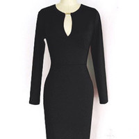 'The Adella' Cut-Out Neck Long Sleeve Sheath Dress