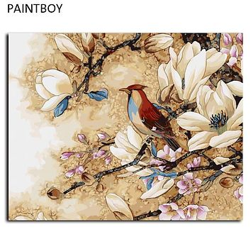 DIY Oil Painting By Numbers Frameless Pictures Digital Canvas Oil Painting Flower And Bird Home Decoration For Living Room G447