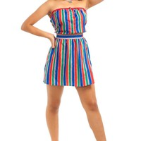 Vintage 90's Renewed Rainbow Stripe Retro Set - L