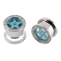 Jewelry Body Piercing One Pair (2pcs) Stainless Steel Blue Star with Clear CZ Gem Rimmed Screw Fit Ear Flesh Tunnel Plugs 0G(8mm)