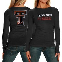 My U Texas Tech Red Raiders Ladies Literality Long Sleeve Slim Fit T-shirt - Black