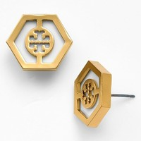 Tory Burch 'Caroline' Logo Hexagon Stud Earrings