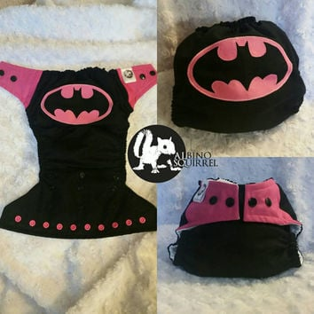 Batgirl Cloth Diaper Cover or Pocket Diaper- One-Size or Newborn, S, M, L