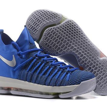 auguau Nike Men's Durant Zoom KD 9 Flyknit Mid-High Basketball Shoes Blue 40-46