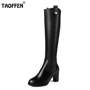 Women Natural Real Leather Knee Boots Winter Snow Boots Sexy Square Heel Fashion Zipper Women Riding Boots Shoes Plus Size 31-45