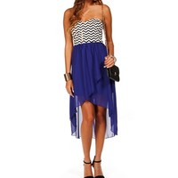 Royal Chevron Hi Lo Dress