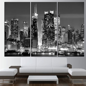 New York city skyline black and white wall art Canvas,  extra large wall art, new york wall art print, new york canvas art print t456