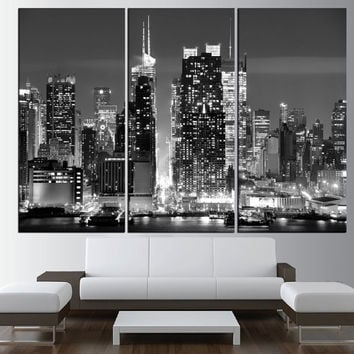 New York City Skyline Black And White Wall Art Canvas, Extra Large Wall Art,