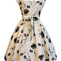 Cream with Black Floral Swing Dress