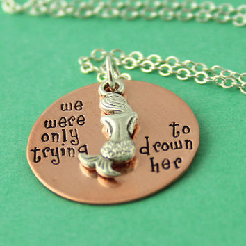 Mermaids of the Lagoon Necklace - Peter Pan Necklace - Hand Stamped Mixed Metal Necklace