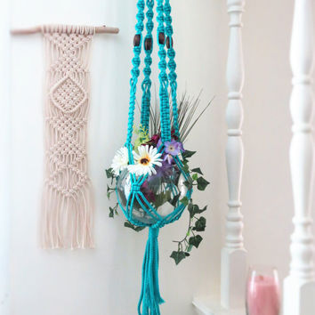 "Macrame Plant Hanger, TURQUOISE, wood beads, 45"", modern, hanging planter basket, 70s, indoor, blue, gifts, boho, hippie, long pot holder"