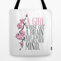 MULAN...  a girl whose got a brain, whose always speaks her mind.. Tote Bag by studiomarshallarts