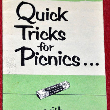 Vintage Product Cookbook Cut-Rite Quick Tricks for Picnics. Vintage Recipe Pamphlet Booklet Brochure