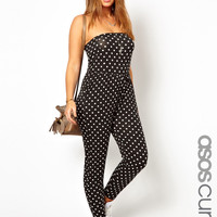 ASOS CURVE Exclusive Bandeau Jumpsuit In Spot Print