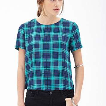 FOREVER 21 Boxy Plaid Top Green/Blue