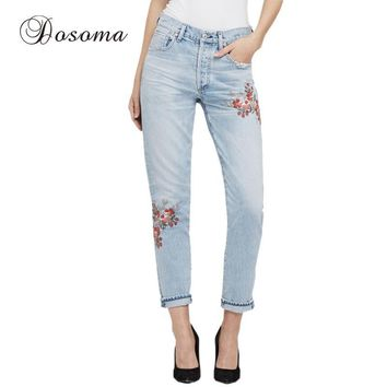 Vintage Flower Embroidery Jeans Female 2017 Light Blue Casual Denim Pencil Pants Capris American Apparel High Waist Jeans Woman