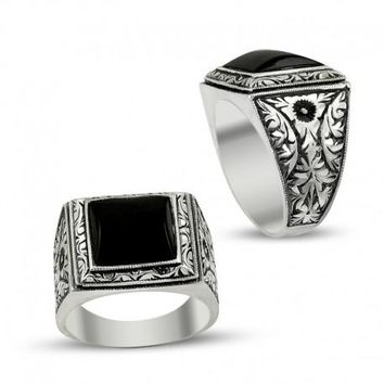 Filigree onyx gemstone 925k sterling silver mens ring unique turkish jewelry handcrafted