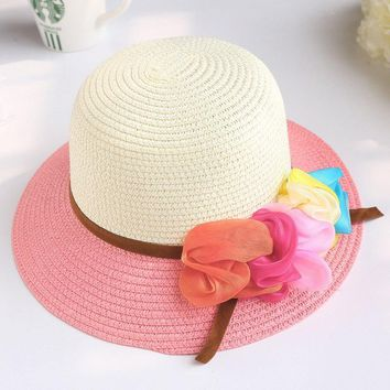 Summer Wide Brim paper straw hat for children girls Fashion Bucket Hats Princess Hat with floral  bowler hat chapeau GH-2