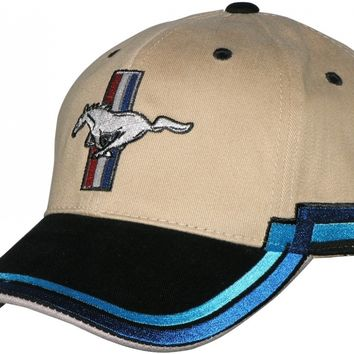 Mustang and logo on a new Tan/Blue ball cap w/tags