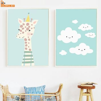 Giraffe Cloud Wall Art Canvas Painting Nordic Posters And Prints  Cartoon Animal Pop Art Wall Pictures Baby Room Kids Room Decor