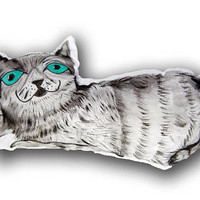 Cat Pillow,Cat,Pillow,Cute,Cats,Pillow Pet,3d,Gift,Cushion,Kitten,Art,Mom,Handmade,Home decor,etsy pillow,decorative,Hand Painted,Smile,2017