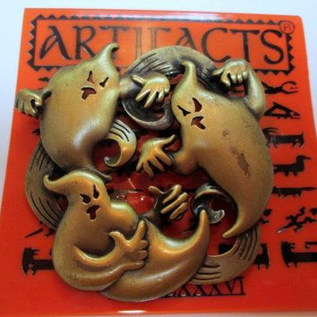 Vintage JJ Pin Brooch// Halloween ghosts // Jonette Jewelry Artifacts 1986 // rare collectible made in the USA//unique gift under 15