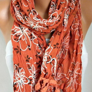 Burnt Orange Scarf Fall WInter Accessories Shawl Oversize Scarf Cowl Scarf Gift Ideas for Her Women Fashion Accessories Christmas Gift