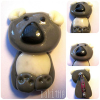Koala Bear Brooch in White, Black and Grey (unique, handmade, polymer clay)