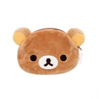 Strapya World : San-X Rilakkuma Face-Shaped Plush Doll Mini Pouch (Rilakkuma)