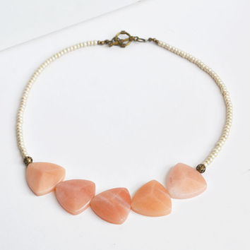 Triangular Stone Peach Necklace, Fire Agate Stone Jewelry, Peach Pink Triangular Stone Necklace, Beaded Statement Jewelry, Canadian Shop