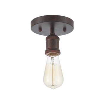 Edison Flush Ceiling Light Industrial Vintage Style Fixtures Weathered Rust (ED268C-RD)
